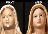 Restauration d'une statue de Bernadette Soubirous par Gino Fillion